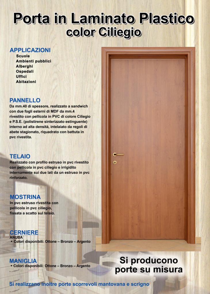 Porta pvc con pannello laminato polistirolo effetto legno for Porte scorrevoli pvc